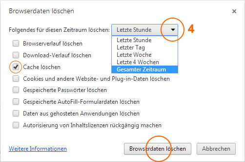 Browser-Cache leeren im Google Chrome 4/5