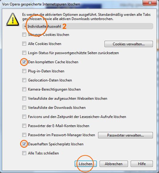 Browser-Cache leeren im Opera 2/2