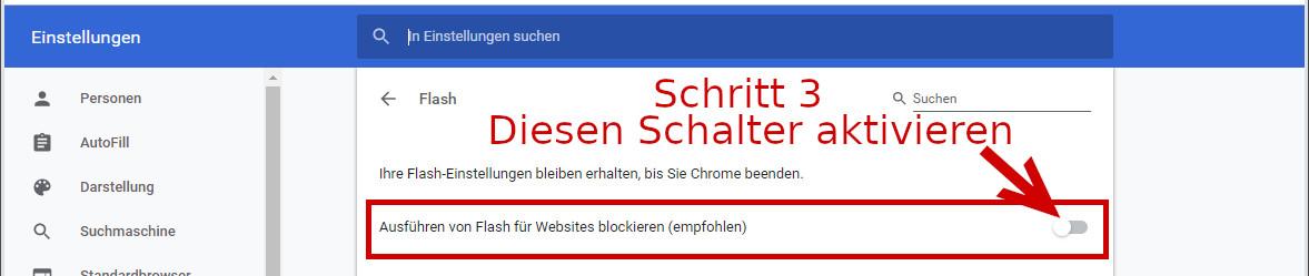 Die Einstellungen im Google Chrome